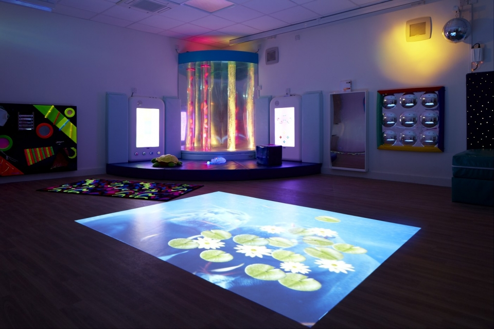 Providing stimulation - The Sensory Room at Rainbows was a great place to take Sophie-Hélène when she was awake and active, and she always enjoyed the sensory baths in the pool there too.