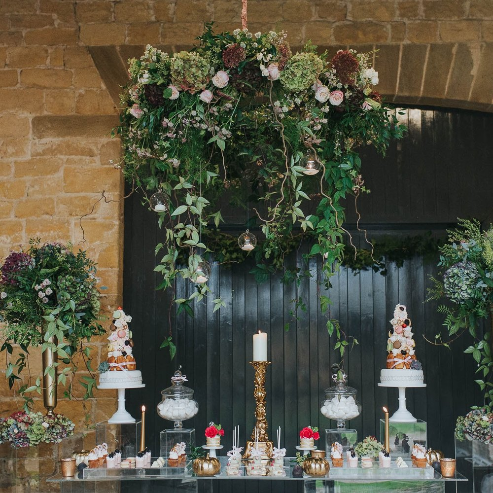 Leafy Couture - Yorkshire Wedding Florist - Flower installations and tablecentres - Rustic barn wedding - Floral chandelier - Castle Barn weddings.jpg