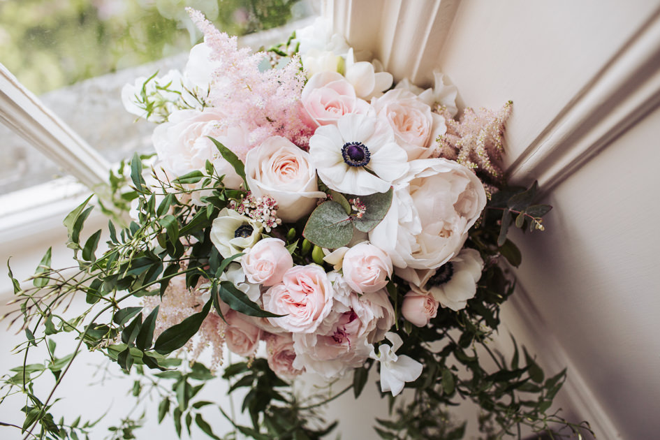 Leafy Couture - Yorkshire wedding florists - Hazelwood Castle wedding - Bridal bouquet with anenomes.JPG