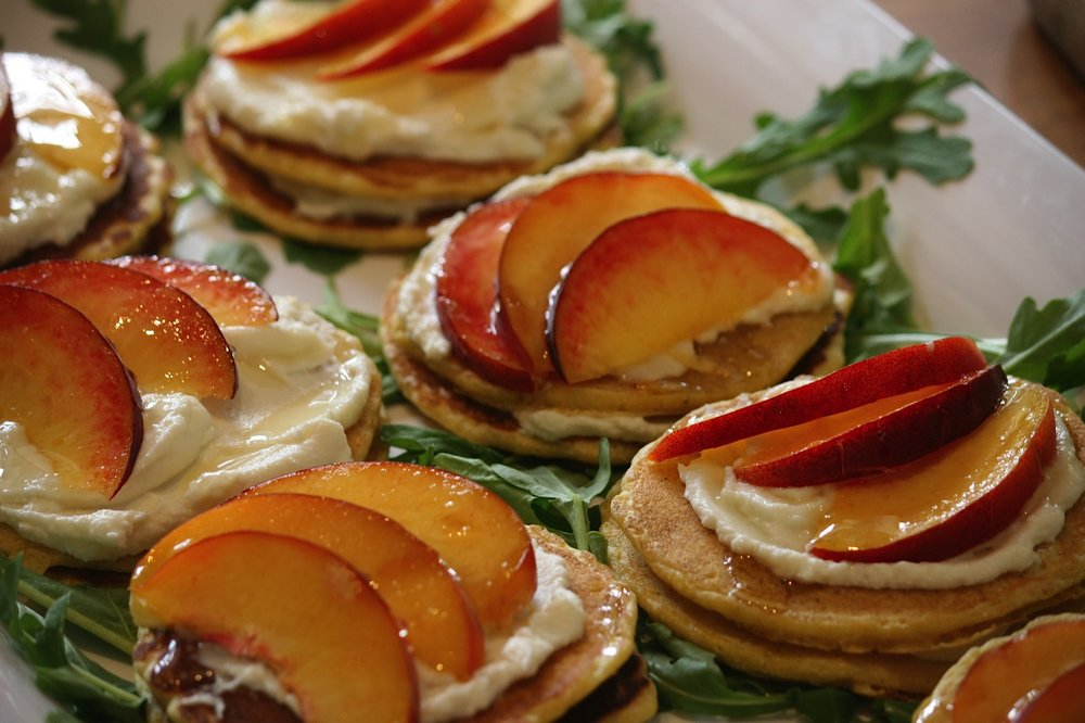 Honey and peach ricotta pancakes.jpg
