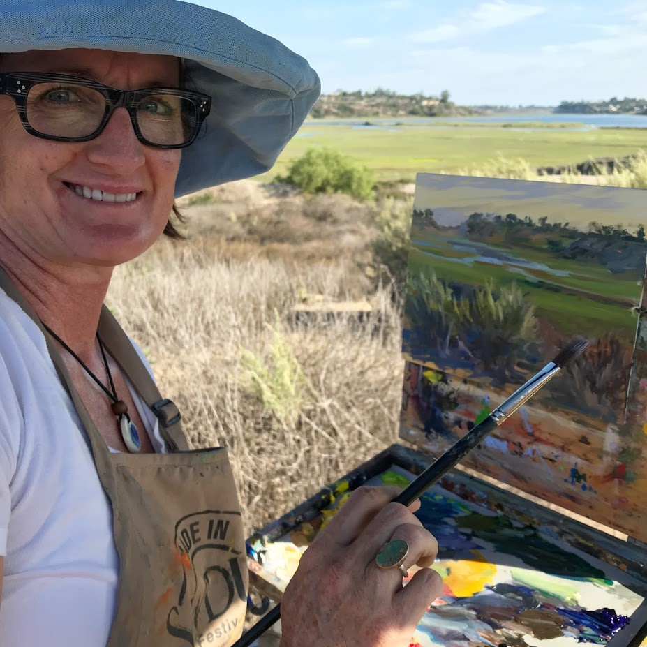 August, 2018: Painting with SCPAPA artists at Back Bay paint out, Newport Beach, CA.
