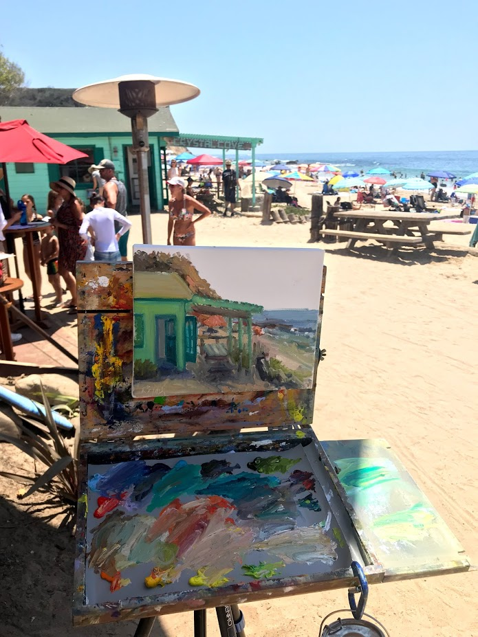 July, 2018: Painting in plein air at Crystal Cove State Beach in front of the Beachcomber restaurant. It was a hot day, but I love the color!