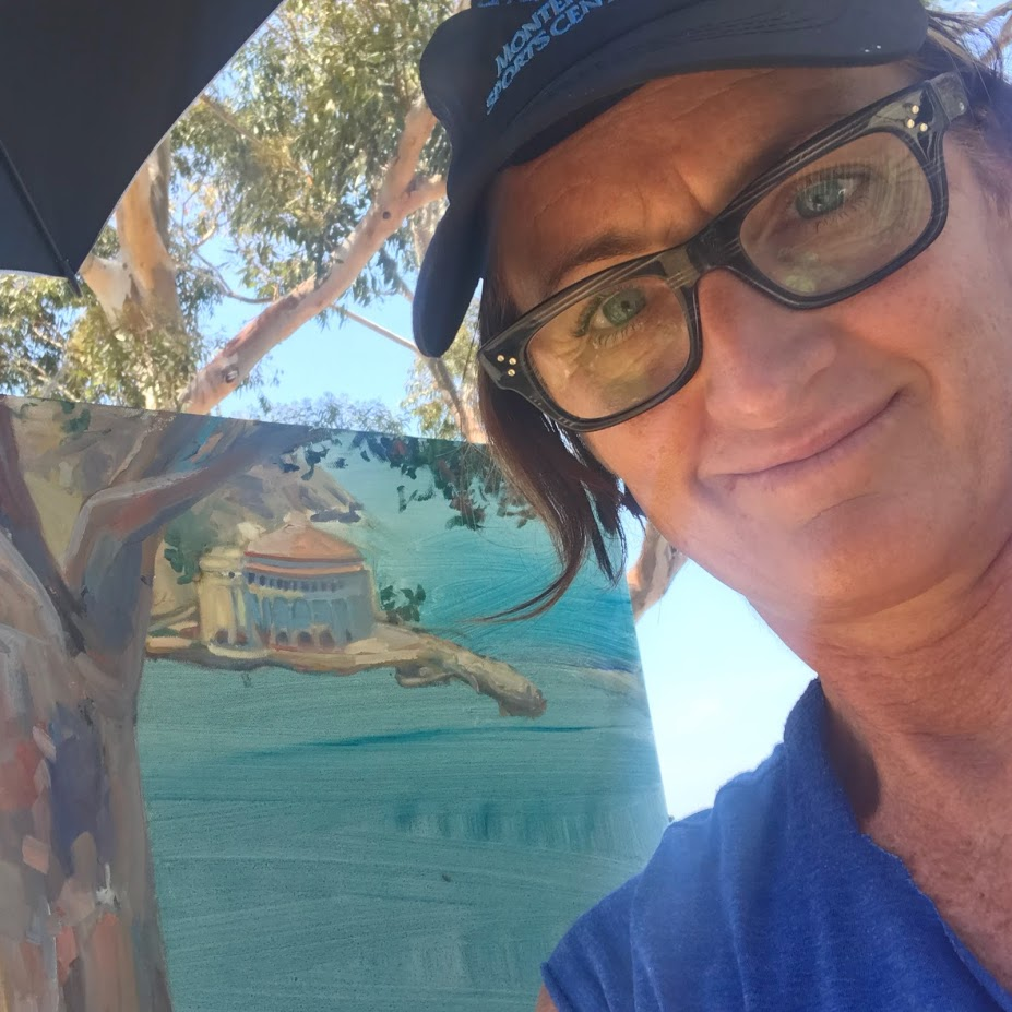 July, 2018: a selfie while painting on Catalina Island, overlooking the Casino above the Inn on Mount Ada.