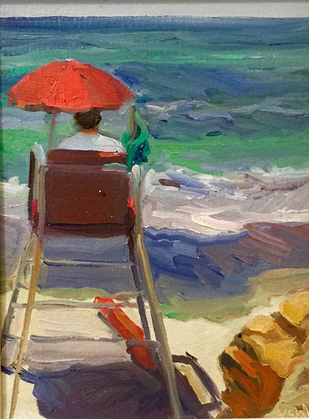 """Laguna Lifeguard""; 11x17; Plein Air Sketch, sold"