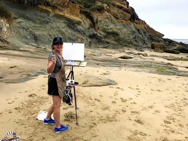 Painting at Diver's Cove, Laguna Beach
