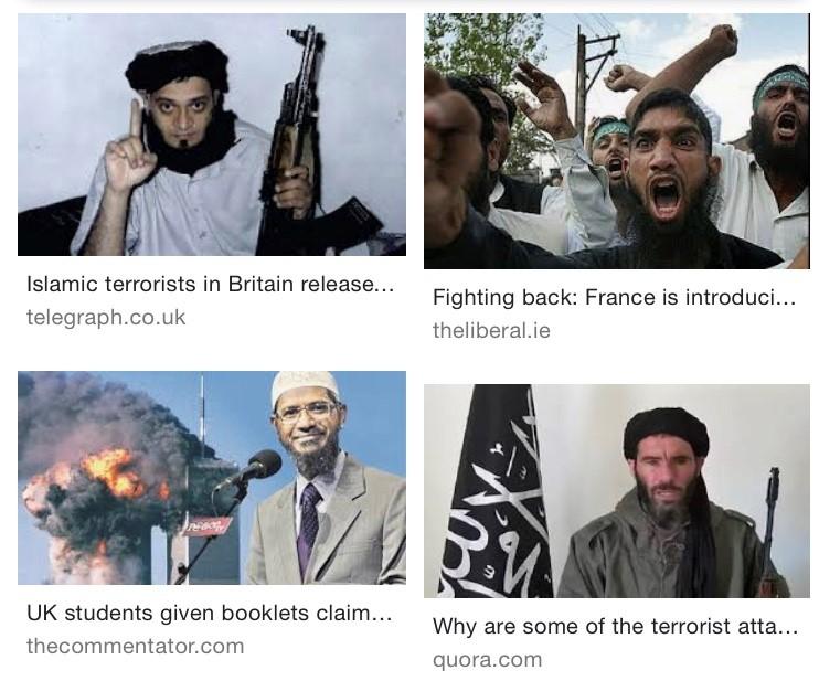 "Google image search of and term ""Muslim terrorist."" Source, Google."