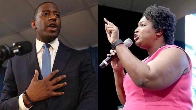 Florida gubernatorial candidate, Andrew Gillum and Georgia gubernatorial candidate Stacey Abrams. Source, The Hill.
