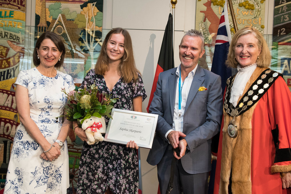 2019 Willoughby Young Citizen of the Year L-R NSW Premier Gladys Berejiklian, Sophia, CEO Guide Dogs NSW/Act Dale Cleaver and Willoughby Mayor, Gail Giles-Gidney
