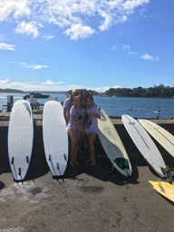 Sophia with school friends after 'Paddle Out'