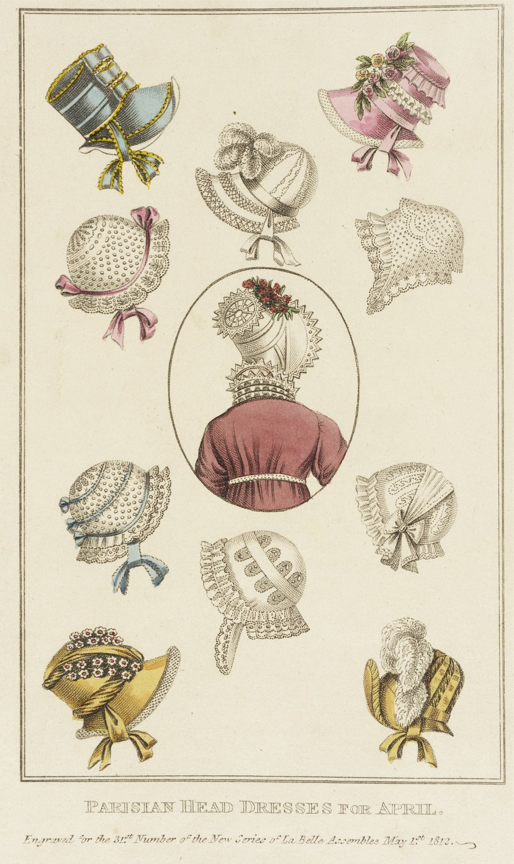 Fashion plate from remarkable women's magazine  La Belle Assemblée,  which was published from 1806 to 1837. Discussed in Episode 1.4, 'Unsex'd females'. Alongside fashion plates, it published   original poetry and fiction, non-fiction articles on politics and science, book and theatre reviews, and serialised novels.