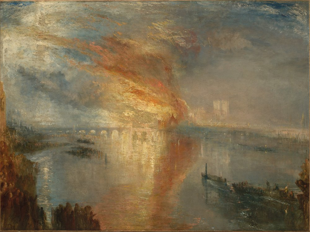 The Burning of the Houses of the Parliament, 1834  > William Turner.