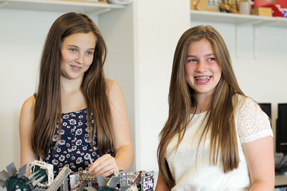 Bella 15 and Joanna 14   Roboticists, UK National Champions: Joanna and Bella believed that every member of their all female robotics team added a unique skill, allowing them to achieve more than if they worked on their own.