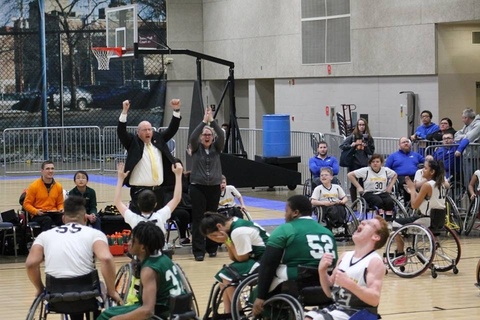 The #8 nationally ranked Peoria Wildcats win the IHSA State Wheelchair Basketball title at the Peoria Civic Center.