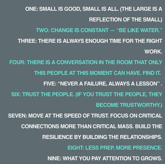 Thank to our friends in Toronto for these change making insights from  Emergent Strategy / adrienne maree brown . Working at the speed of trust. (h/t  Great Lakes Commons )