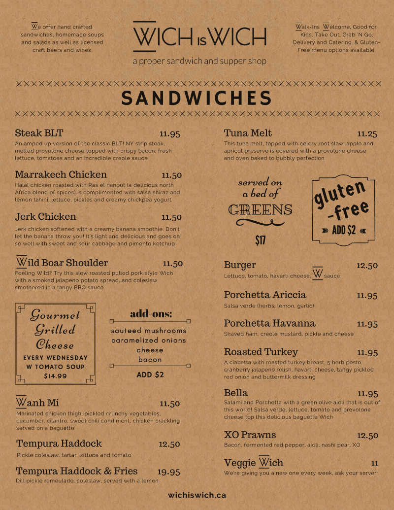 Sandwich Lunch Menu Design on Kraft pg 1