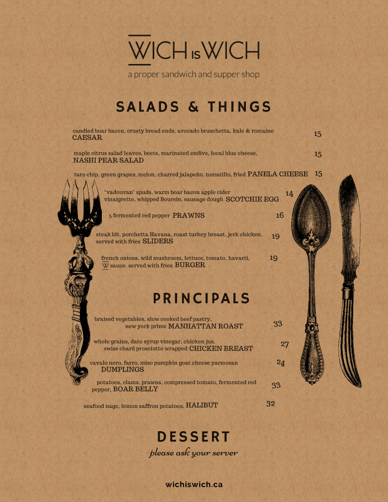 Dinner Menu Design on Kraft pg 3