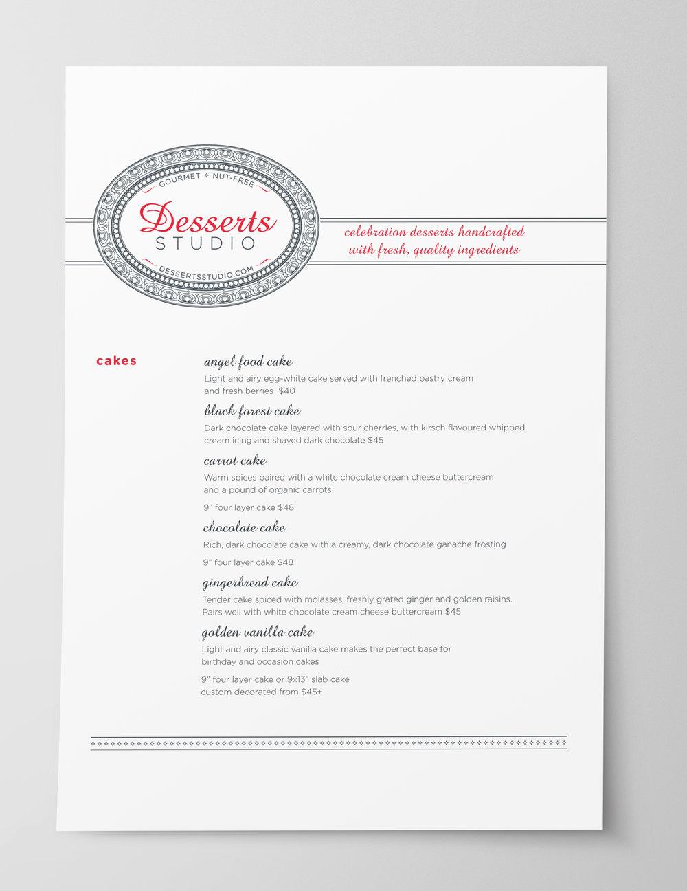 Dessert Menu Design Minimal pg 1