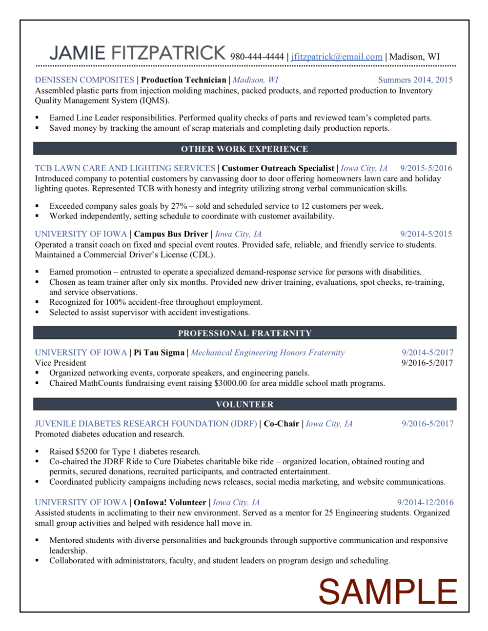 New College Graduate Resume – page two