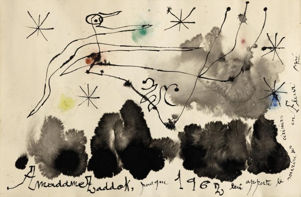 """""""Composition pour Madame Zadock"""" (1962)   Gouache et encre de chine - 40,5 x 64 cm - Publié dans le catalogue raisonné : Drawings III page 60  VENDU"""