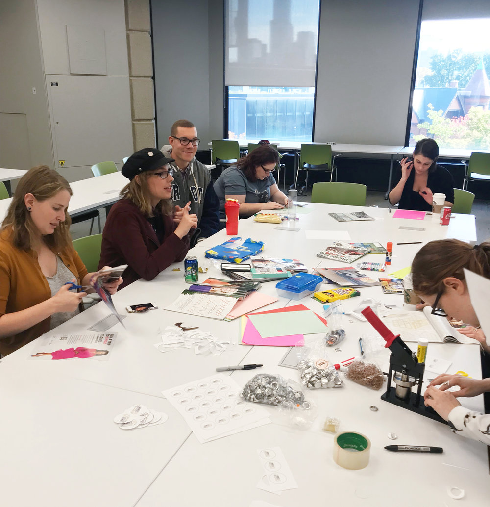 Museum Studies students making buttons