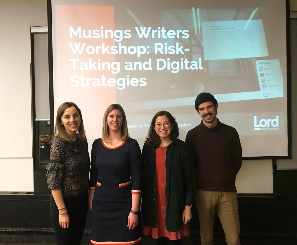 From left to right: Amy Intrator, Musings Co-Editor-in-Chief, Sarah Hill from Lord Cultural Resources, Kathleen Lew, Musings Co-Editor-in-Chief, and Jordan Fee, Musings Communication Officer.