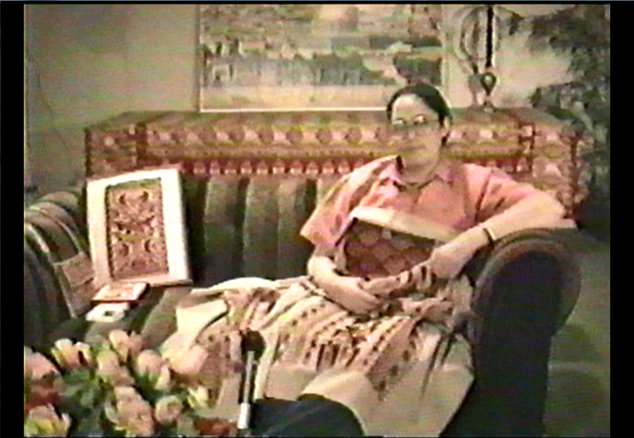 Screenshot of an interview with my mother, circa 1991.