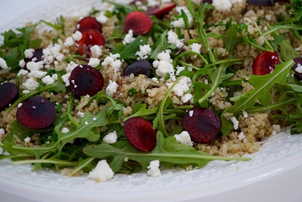 brown-rice-quinoa-arugula-goat-cheese-cherry-salad dishitgirl.jpg
