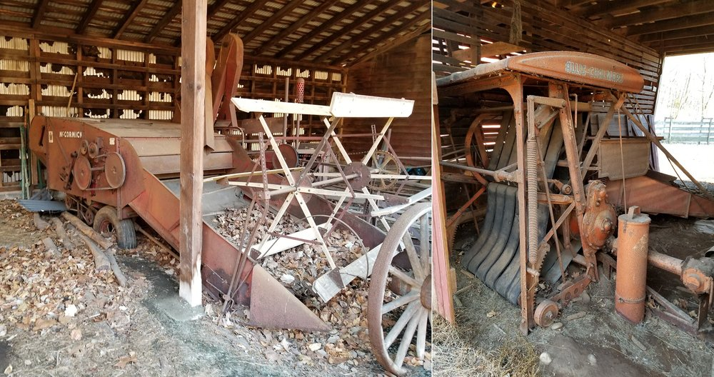 The old McCormack combine and the Allis Chalmers Roto-baler