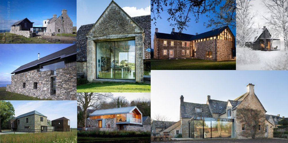 Clockwise: Scottish Island House by WT Architecture; Gloucestershire Barn conversion; 18th Century Farmhouse in PA by Wyant Architecture; Pavillon Roly in Belgium by Bruno Erpicum; Yew Tree House in Cotswold by Jonathan Tuckey; Loughloughan Barn in the UK by McGarry-Moon Architects; Tourin Barns in Ireland by James Gorst Architects
