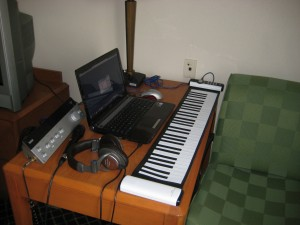 My road ready recording studio.  It takes about two minutes to set up. Notice the fold up piano!