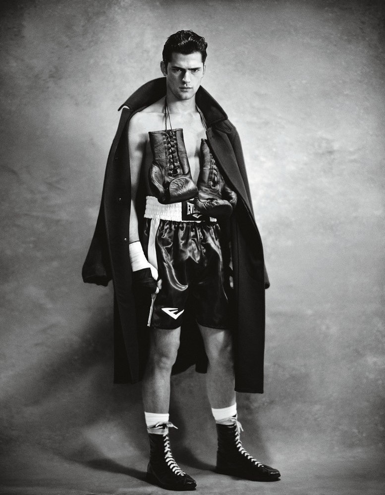 double splittable wool coat TOM FORD  boxing shorts, gloves, hand wraps, and boots EVERLAST socks CHAMPION