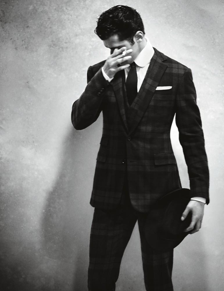 Flannel three-piece suit, cotton poplin shirt, silk tie, and pocket square RALPH LAUREN PURPLE LABEL hat WORTH & WORTH