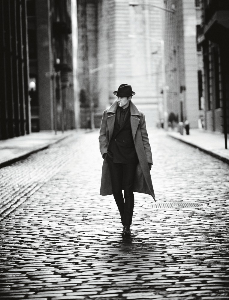Oversized cashmere coat, cashmere, wool, and mohair blend suit, cotton and silk shirt, tie, gloves, and brogues BERLUTI  hat WORTH & WORTH