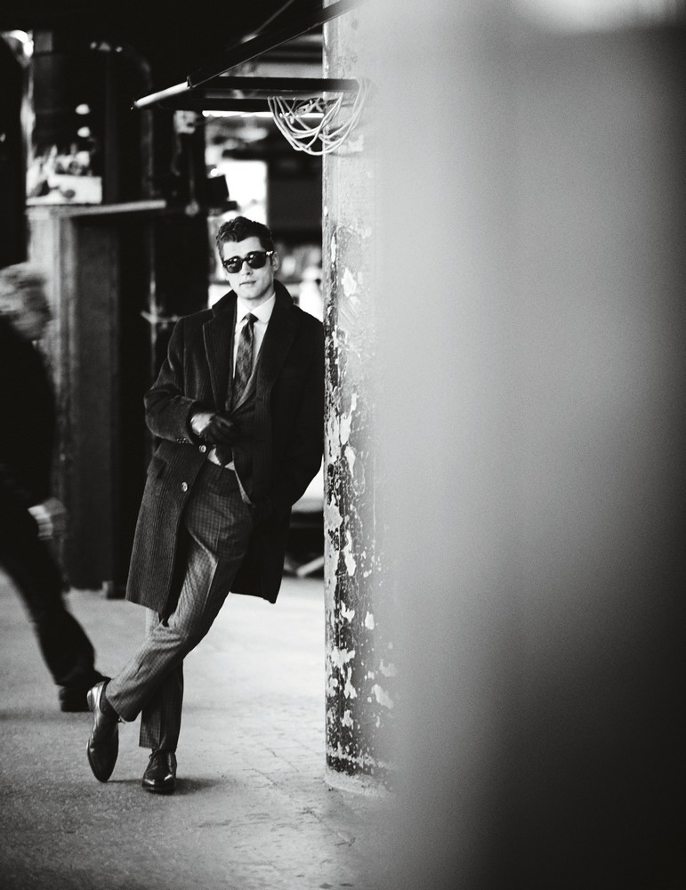 Cashmere overcoat, cashmere and wool blend suit, cotton shirt, and tie BRIONI sunglasses OLIVER PEOPLES  gloves HERMÈS  socks PANTHERELLA  shoes JOHN LOBB
