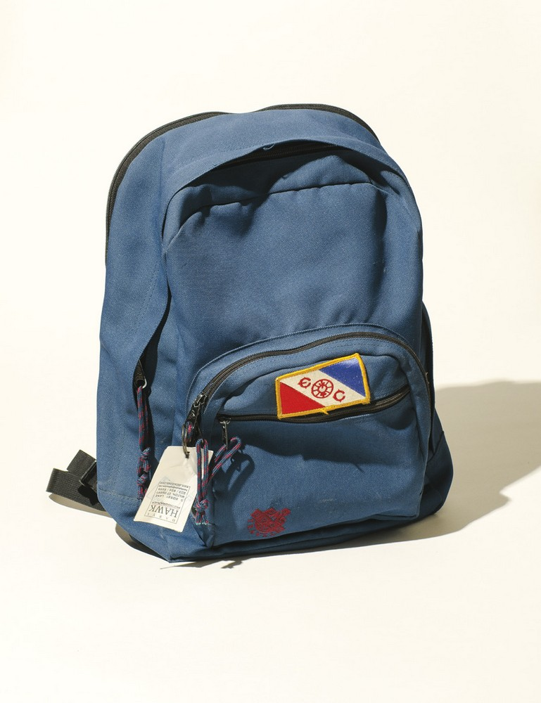 his backpack with Explorer's Club patch