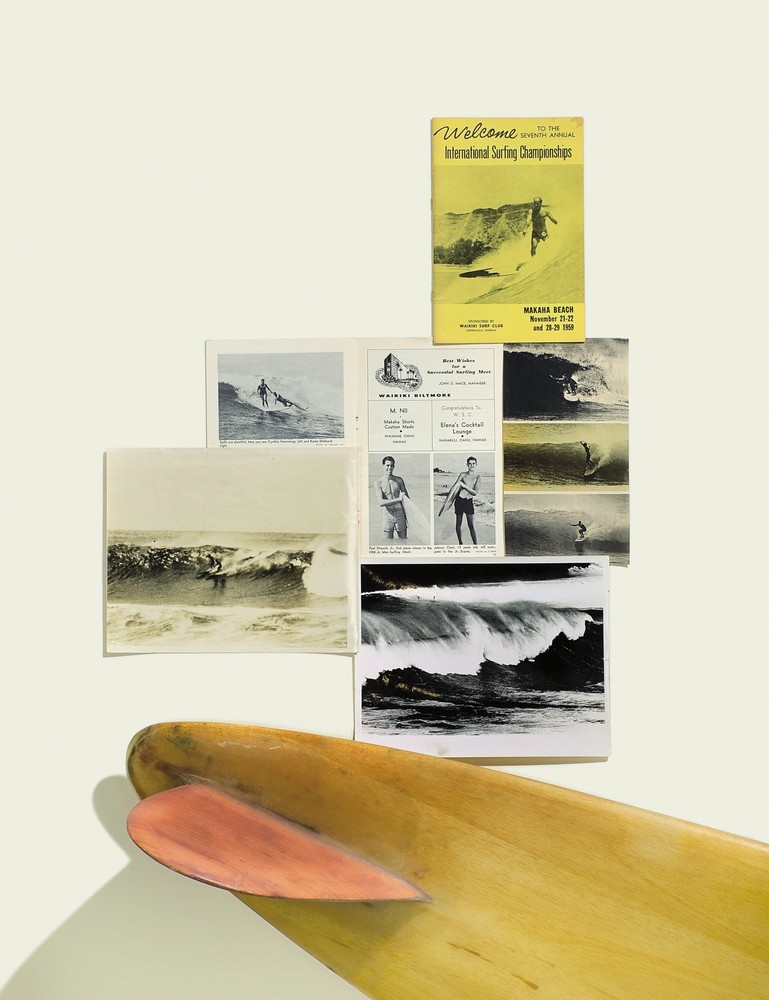clockwise from top: cover and interior pages from 1959 Makaha International Surfing Championships program; an early 50's shot of Waimea Bay; a 1950's balsa gun, shaped by Joe Quigg; an unknown surfer at Makaha