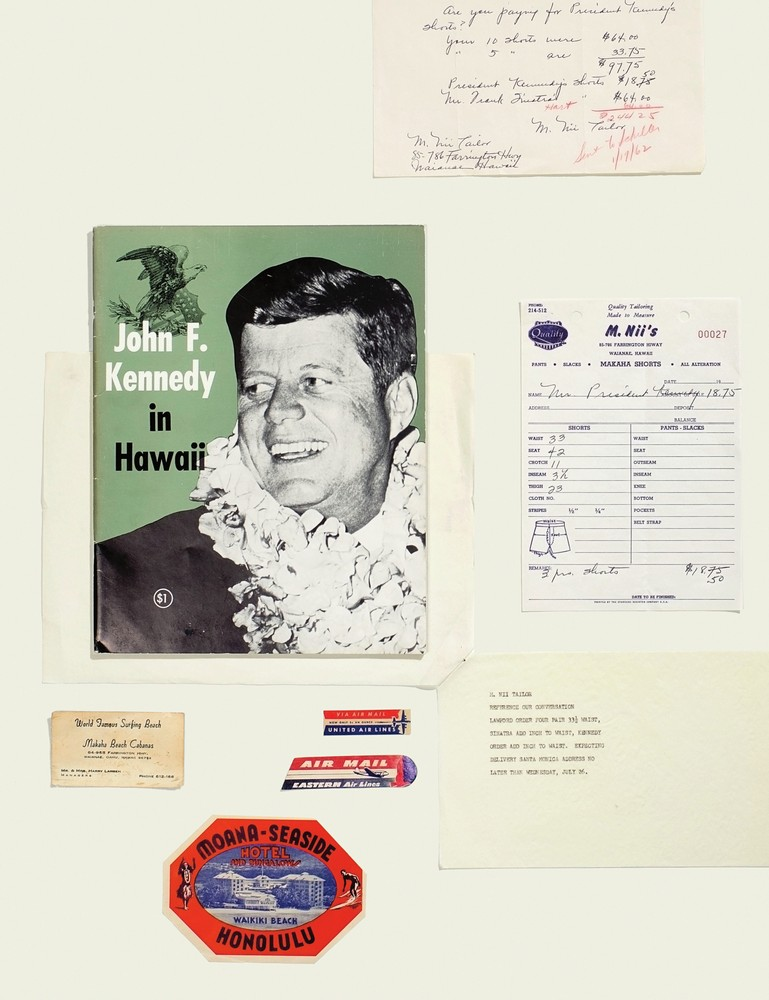 """Clockwise from top: a note from Florence Nii to Peter Lawford inquiring about President Kennedy's unpaid balance (apparently, Frank Sinatra pre-paid); one of JFK's M.Nii orders; a note from Peter Lawford's assistant to the Niis, who were infamous for operating their shop on """"Hawaiian time""""; 1950s luggage sticker advertising the Moana-Seaside in Waikiki; early '60s card touting Makaha Beach Cabanas; in June of 1963, JFK made a 20-hour visit to Hawaii to address the Hawaiian Council of Mayors; early '60s Air Mail."""