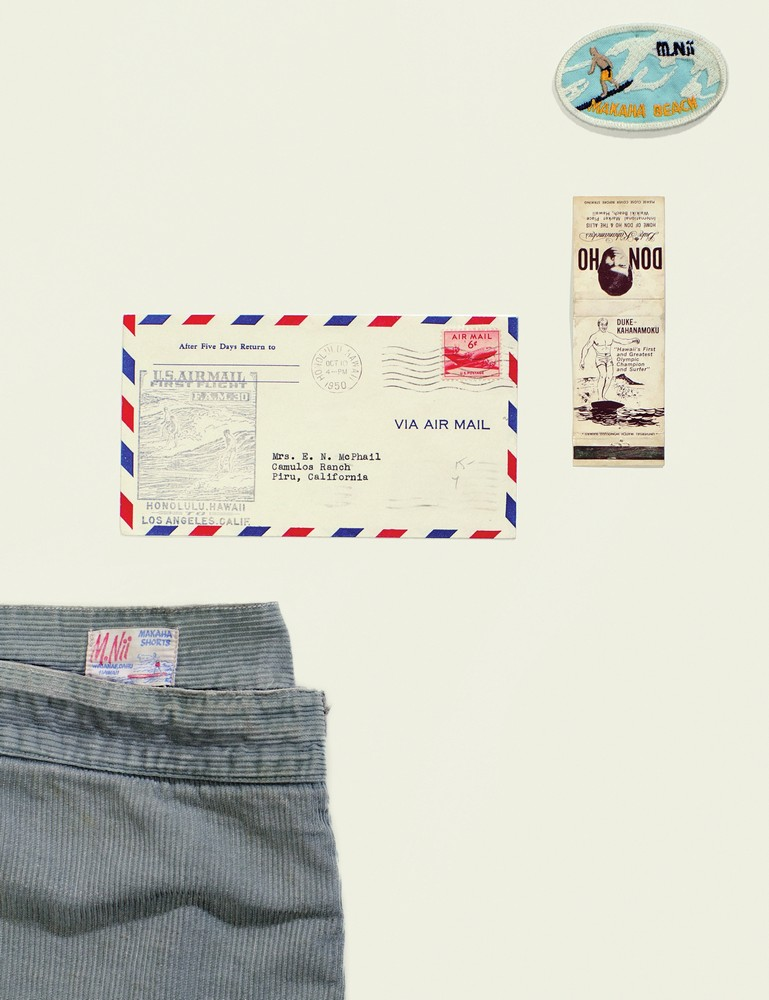 """From top: a rare M.Nii patch from the early '60s; a matchbook from the Duke Kahanamoku restaurant, circa '65; a letter to the mainland; twenty years before Ocean Pacific's iconic """"walkshorts,"""" M.Nii was into corduroy."""