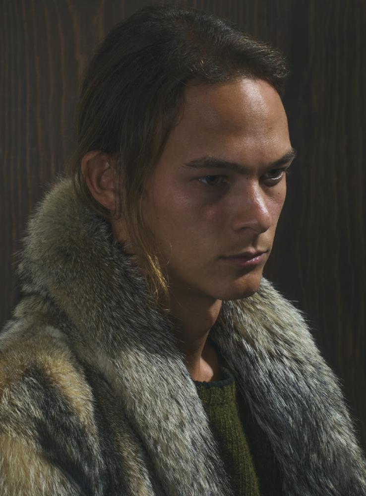 fox fur coat and wool knit sweater PRADA