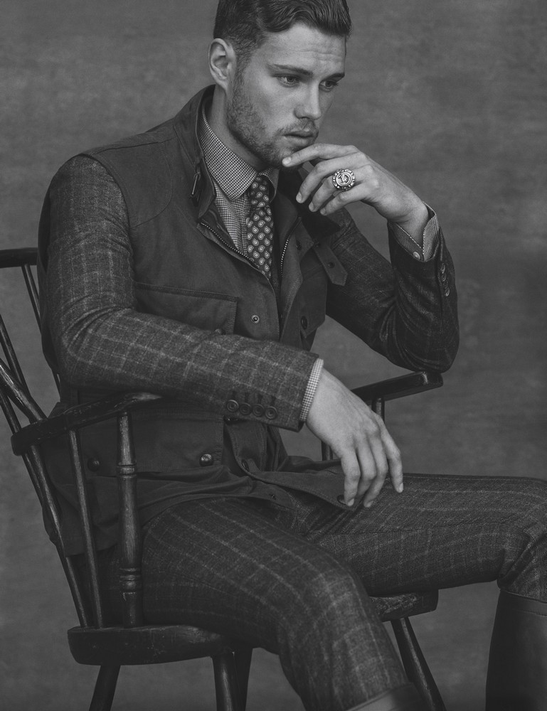LUKAS  Wool-silk prince of wales check jacket and pants HARDY AMIES  coated twill down vest BELSTAFF  flannel shirt BARBOUR  silk tie DUNHILL  signet ring FINE LIGHT TRADING  leather engineer boots CHIPPEWA  grooming by ENRICO MARIOTTI at ART DEPARTMENT  set design by AMY HENRY at CLM