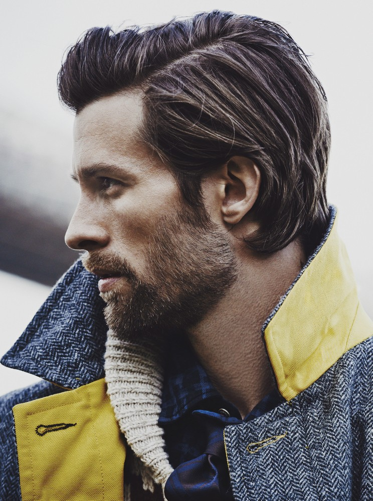 nylon-wool blend herringbone coat WOOLRICH WOOLEN MILLS, shearling cardigan LEVI'S, cotton shirt WOOLRICH JOHN RICH & BROS. silk tie BRUNELLO CUCINELLI