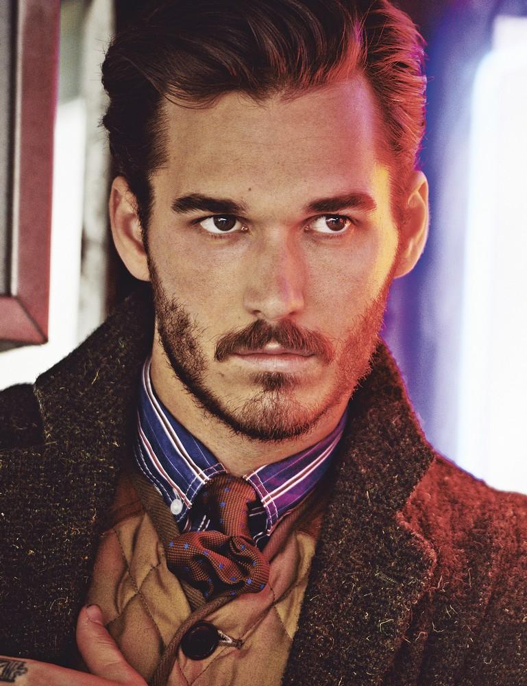 Wool button-down blazer, quilted v-neck vest, cotton striped shirt, and silk tie JUNYA WATANABE