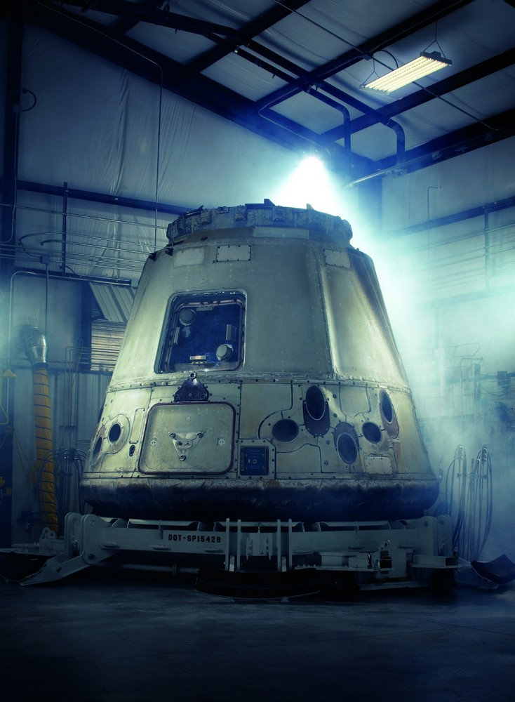 The SpaceX Dragon capsule just after its maiden voyage to the International Space Station, Cape Canaveral, Florida, 2012  photograph by ERIC OGDEN