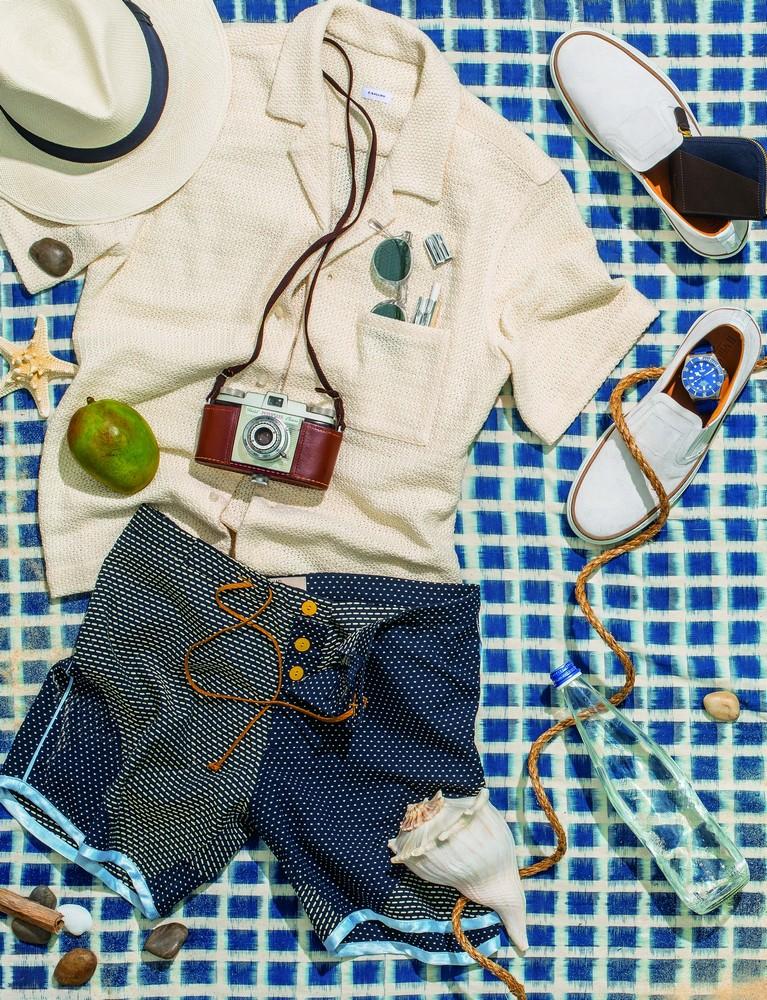 ROYAL NATIONAL PARK, AUSTRALIA 34.1225° S, 151.0639° E  1. pelagos 25600tb blue watch TUDOR  2. club shirt O.BALLOU  3. indigo beach blanket THADDEUS O'NEIL 4. hamilton panama hat LAROSE  5. houston slip-on NO. 288  6. sashiko board short THADDEUS O'NEIL 7. o'malley sunglasses OLIVER PEOPLES 10. zipper six-card case MISMO 12. etched silver joint case JVDF
