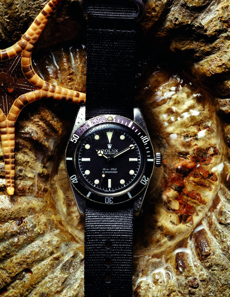VINTAGE ROLEX SUBMARINER 'NO CROWN GUARDS' Ref.: 6536/1. Mid-1950s. Oyster. Steel. 36 mm.  available at manoftheworld.com