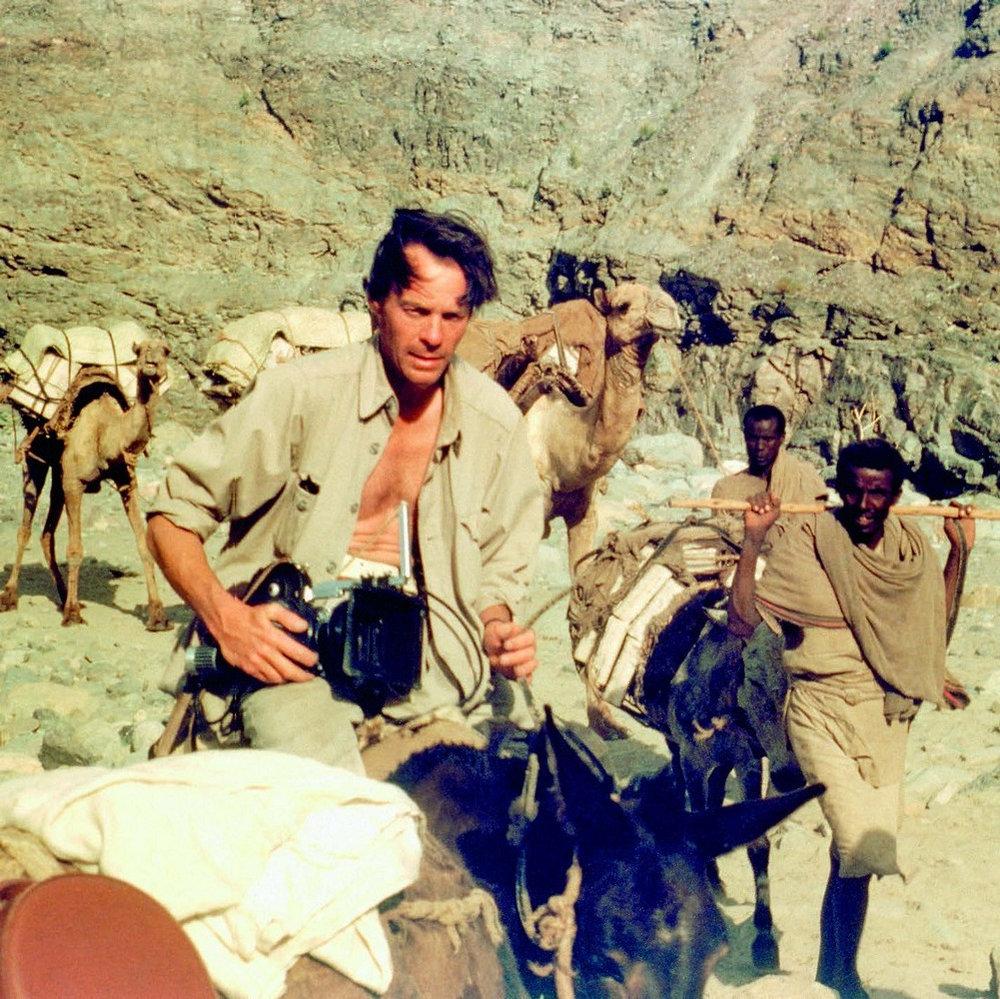 Gardner leads a donkey and camel caravan through the Dallol Depression, Ethiopia, 1967.