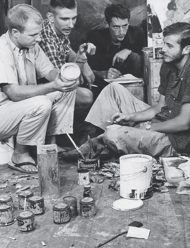 Joe Goode, Jerry McMillan, Ed Ruscha, and Patrick Blackwell in the studio space they shared while attending Chouinard Art Institute, Los Angeles, circa 1959. Photograph by Patrick Blackwell