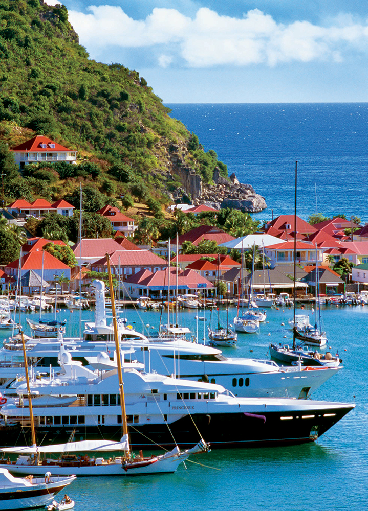 The harbor at Port of Gustavia, St. Bart's. Leeward Islands, Caribbean.
