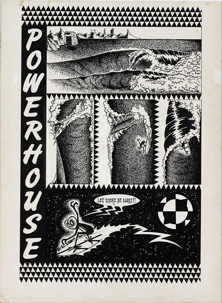 "Jim Evans Underground Comic ""Powerhouse"", 1967 Ink on museum board"