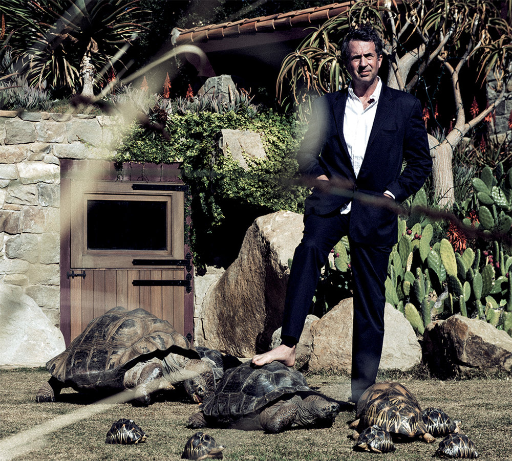 Goode consults his favorite Galapagos while surrounded by a cluster of radiata in one of several custom-built pens at the Behler Chelonian Center in Ojai, California.  Suit HELMUT LANG, shirt ARMANI